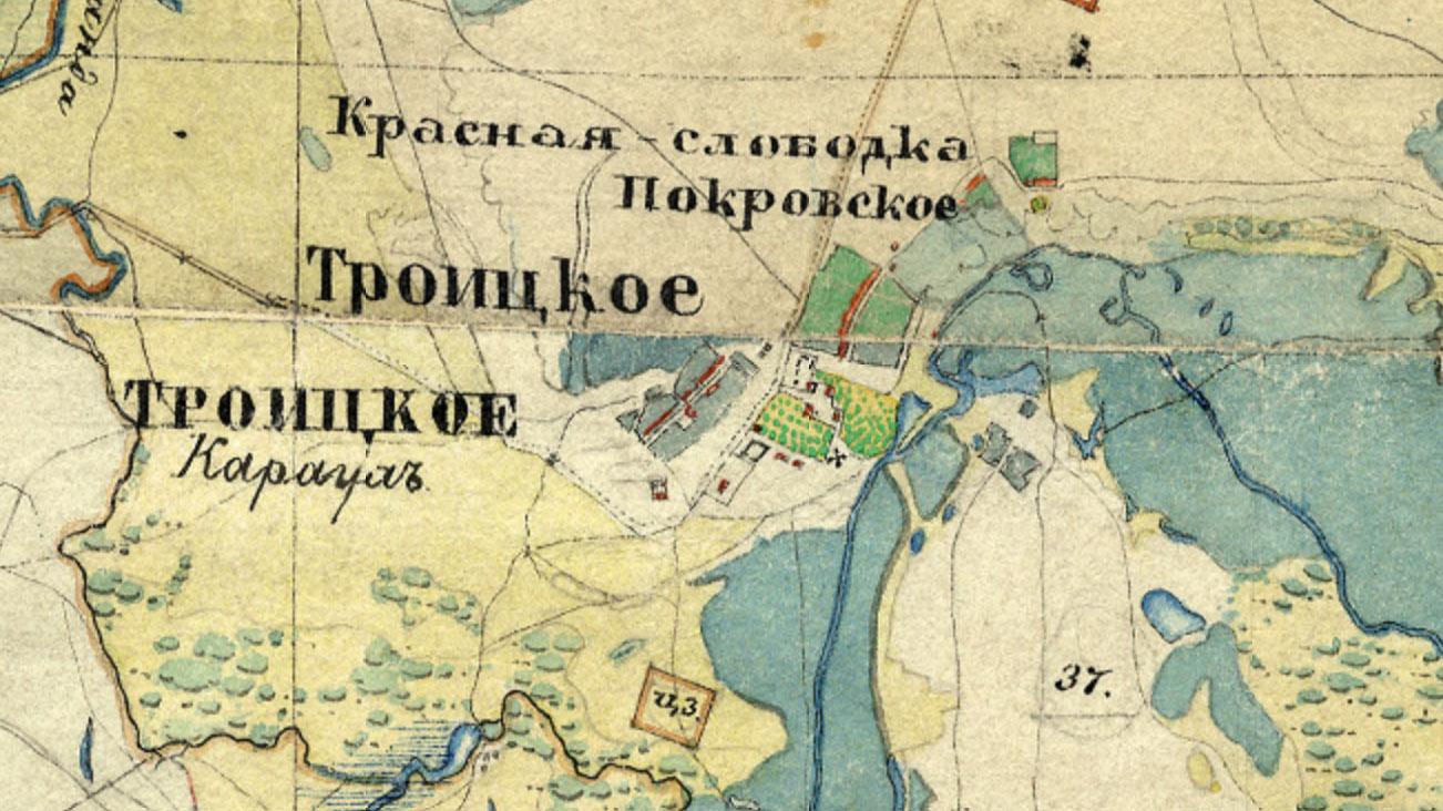 Карта Тамбовской губернии, село Караул