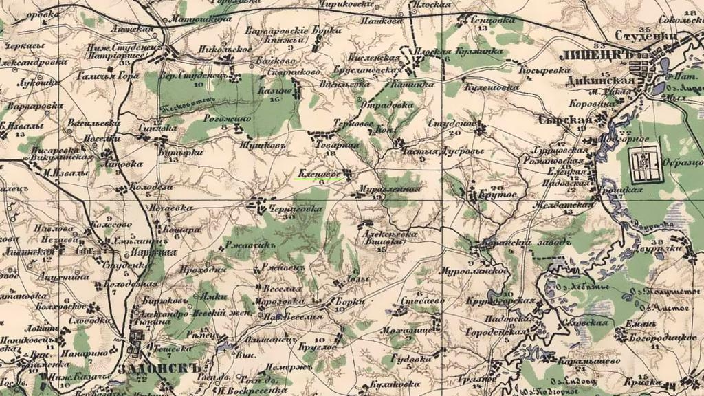 Старая карта Липецкого уезда