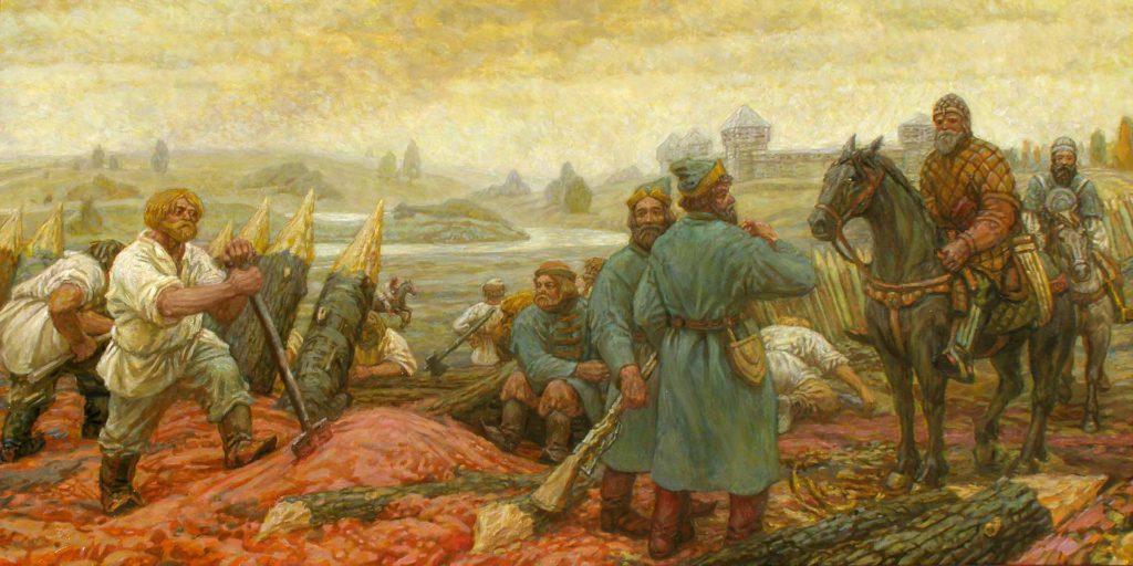 Репродукция современной картины о строительстве Белгородской черты